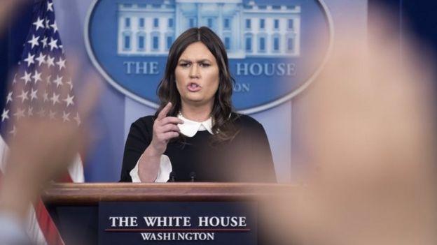 Sarah Sanders, portavoz de la Casa Blanca.