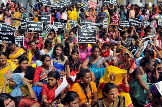 Participants hold placards during a protest demanding an end to what they say is discrimination and violence against the transgender community, in Bengaluru, India October 21, 2016.