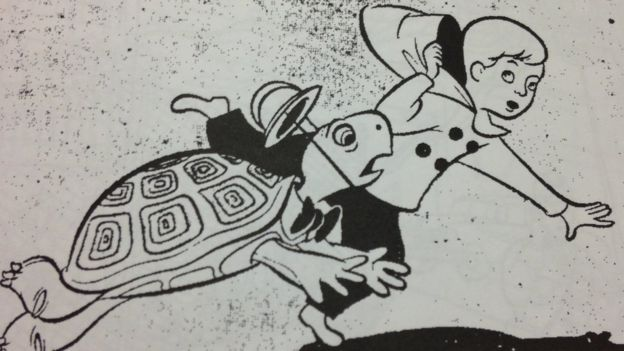 Ilustración infantil de un niño y una tortuga corriendo. (Imagen: cortesía de la Biblioteca Truman)