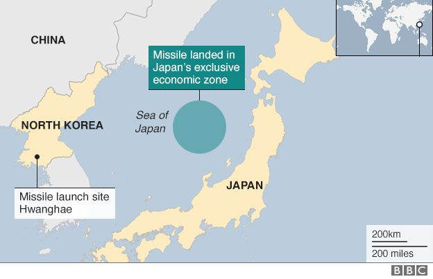 North Korea Fires Ballistic Missile Into Japanese Waters BBC News - Japan map missile