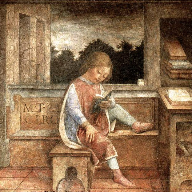 Cicerón, de niño, leyendo, en un fresco de Vincenzo Foppa (1464). (Wellcome Collection)