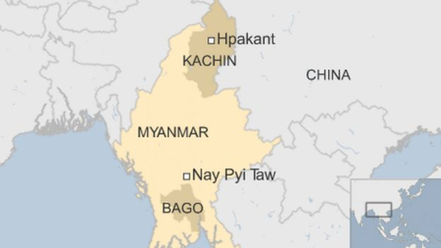 map of Myanmar, showing Hpakant in northern province of Kachin, plus Bago state