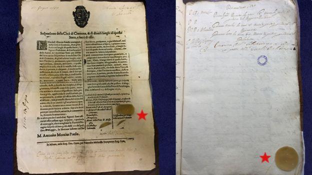 Documentos del archivo de los muertos de Milán.
