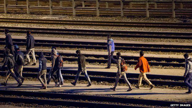 Migrants on tracks at Calais