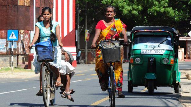 Sri Lankan women cycling
