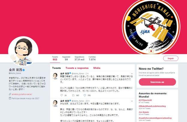 perfil de astronauta japonês no twitter