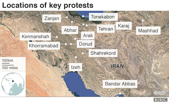 graphic showing many cities where there have been protests