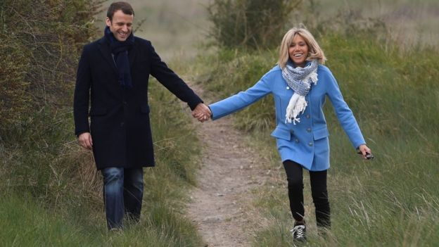 Emmanuel and Brigitte Macron on country walk before his election win