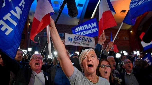 Le Pen supporters celebrated in her northern stronghold