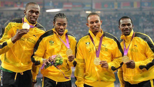 A equipe de revezamento da Jamaica, em 2012