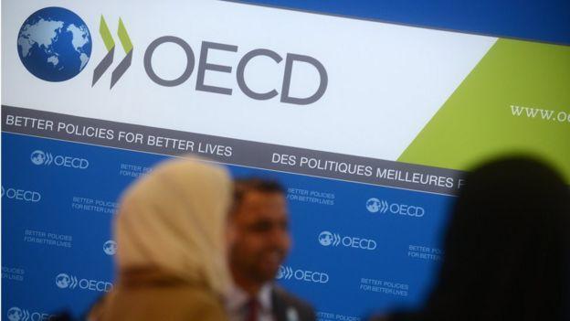 Un afiche de la OCDE