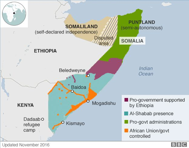 Territory Control Map Of Somalia Also Showing Dadaab Refugee Camp In Kenya