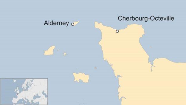 Карта Олдерни и Шербура