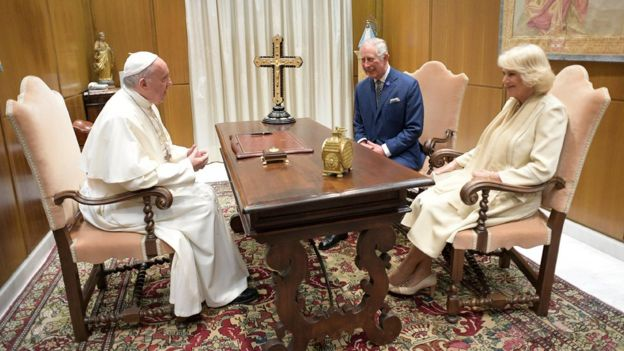 during a private audience at the Vatican, 4 April 2017.