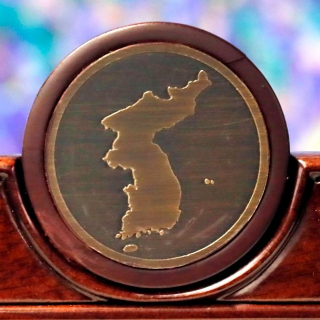 Map of Korean peninsula on a chair to be used at the summit shown in Seoul, 25 April 2018