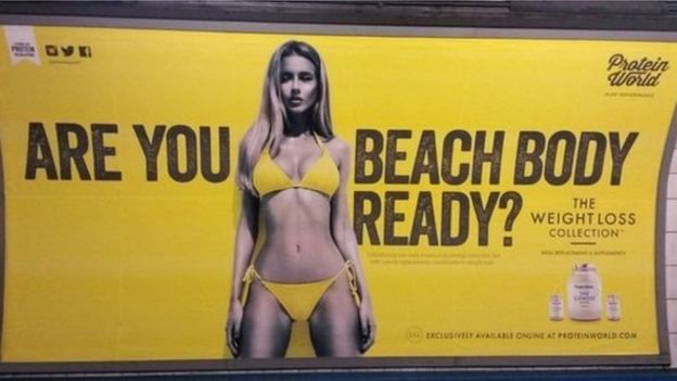 Cartaz da Protein World em Londres