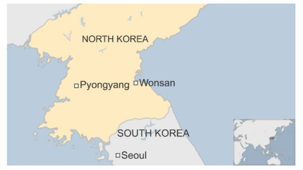 Map of North Korea showing Wonsan in east