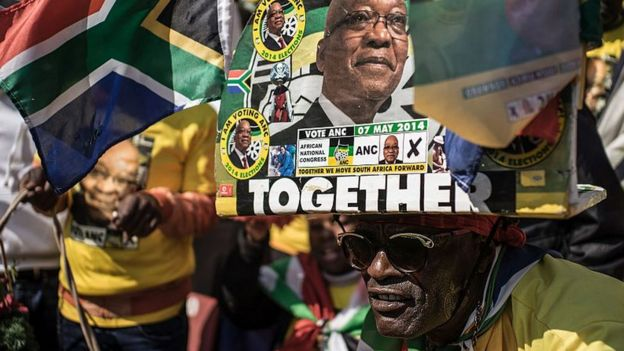 Africa National Congress (ANC) supporters gather at the Ellis Park stadium in Johannesburg for the ANC closing rally campaign on July 31, 2016 ahead of August 3 municipal elections.