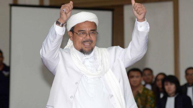 Rizieq Shihab saat memberikan kesaksian dalam sidang Ahok pada 28 Februari lalu.