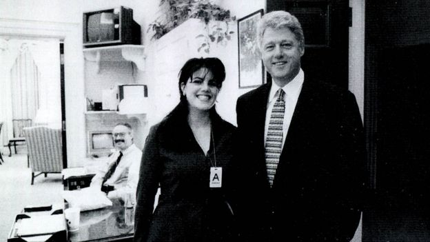 Monica Lewinsky and Bill Clinton in a black and white photograph at White House (undated)
