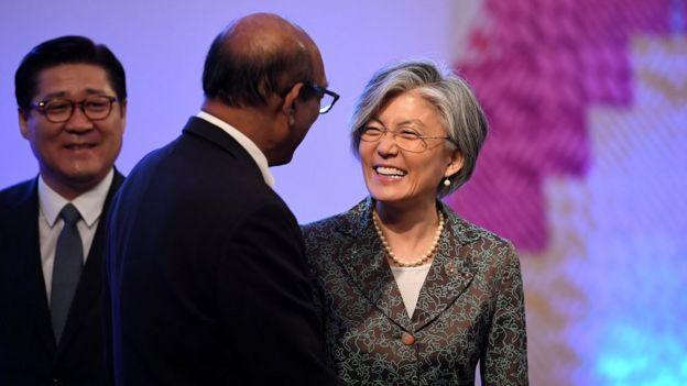 Güney Kore Dışişleri Bakanı Kang Kyung-wha, ASEAN toplantısında diğer üye ülkelerin dışişleri bakanlarıyla da görüştü.