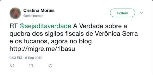 Captura de tela de perfil que apoiou Dilma em 2010 no Twitter