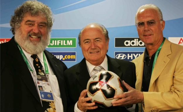 Chuck Blazer, Sepp Blatter, and footballer Franz Beckenbauer pose in Frankfurt on 13 June 2005.