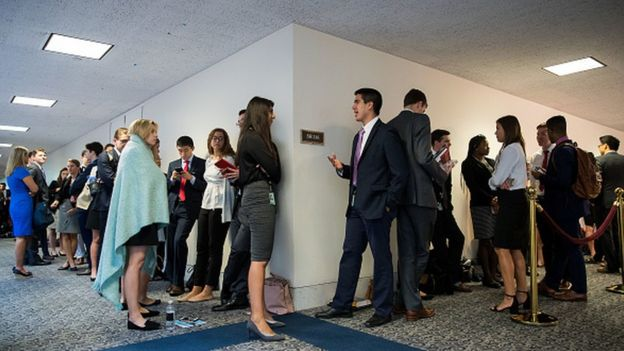Congressional staffers slept in the hallway for a chance to watch the Comey hearing earlier this month