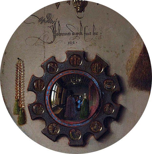 Detalle del Retrato de Arnolfini: el espejo, colgado en la pared de atrás, con un grafiti arriba.