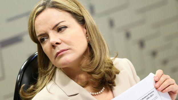 A presidente nacional do PT, senadora Gleisi Hoffmann (PR)