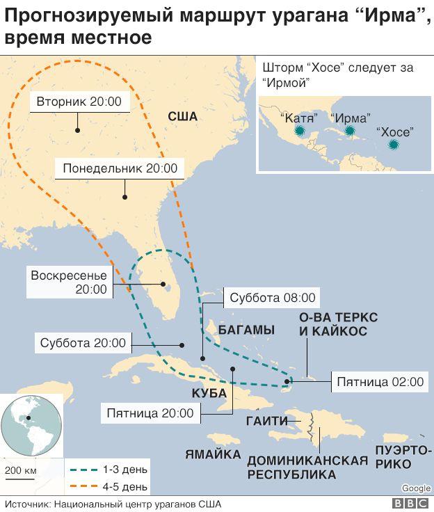 Карта движения урагана