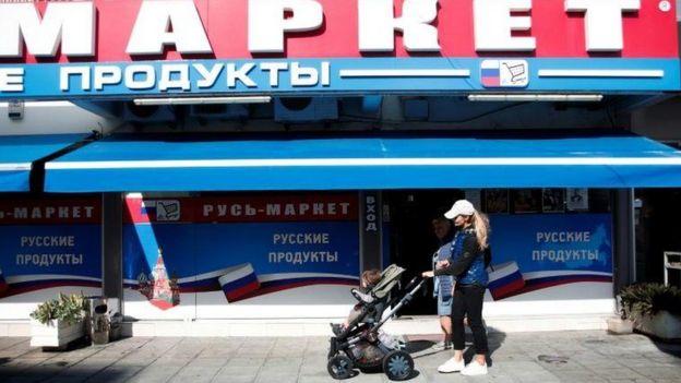 Limasol'de bir Rus mağazası