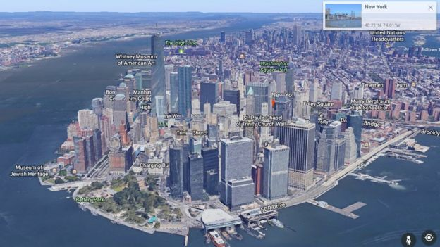 mapa 3D Google Earth