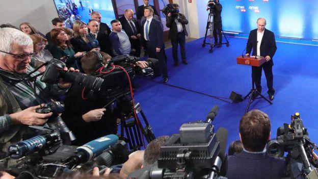 Vladimir Putin en una rueda de prensa