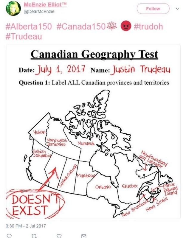 Several twitter users shared a map of Canada with