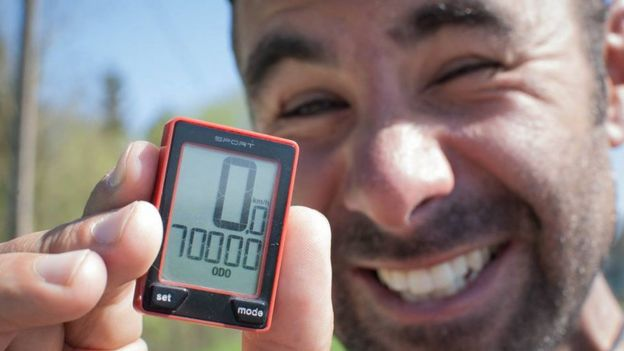 cycle pedometer shows 70,000 km