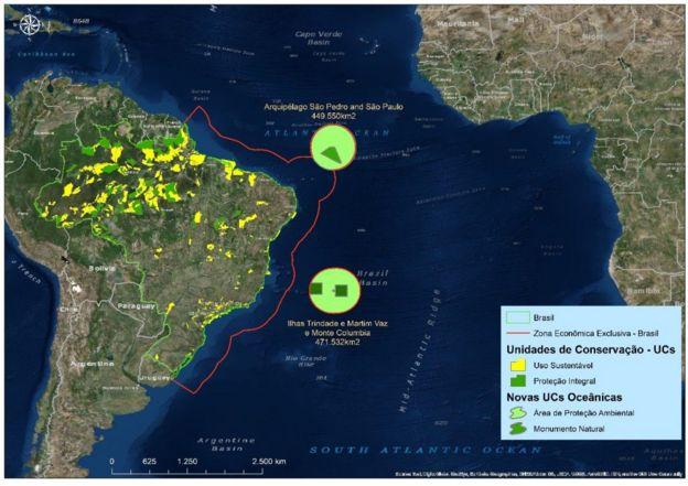 Mapa mostrando reservas xmarinhas recém-criadas