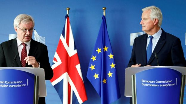 Brexit Secretary David Davis and EU chief Brexit negotiator Michel Barnier