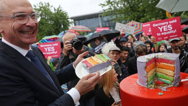 German Greens Party parliamentarian Volker Beck joins supporters of gay rights gathered outside the Chancellery to celebrate following a vote at the nearby Bundestag in which parliamentarians approved a new law legalizing gay marriage in Germany on June 30, 2017 in Berlin, Germany.