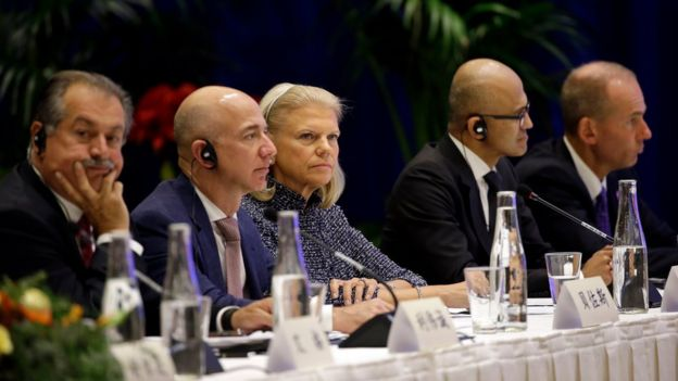Andrew Liveris, CEO of Dow Chemical, Jeff Bezos, CEO of Amazon, Virginia Rometty CEO of IBM, Satya Nadella CEO of Microsoft and Dennis Muilenburg CEO of Boeing listen as Chinese President Xi Jinping speaks at a U.S.-China business roundtable