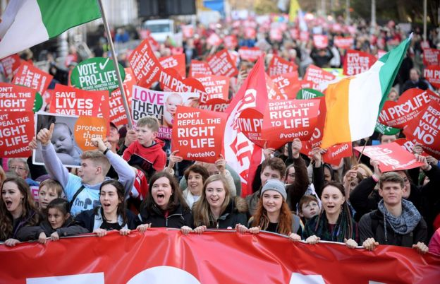 Anti-abortion protesters march through Dublin