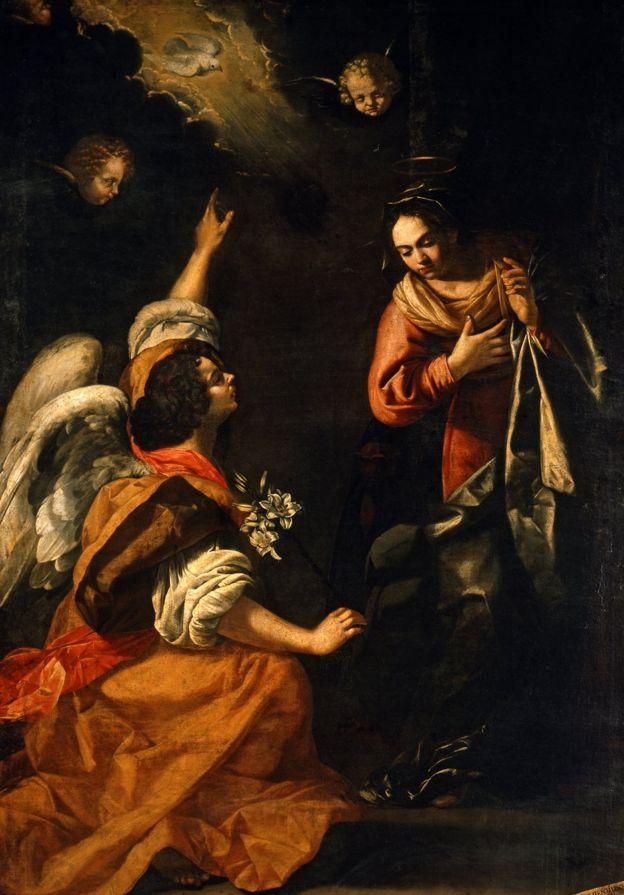 """""""Annunciazione"""" (Anunciación), 1630, una pintura de Artemisia Gentileschi. Óleo sobre lienzo, 257 x 159 cm."""
