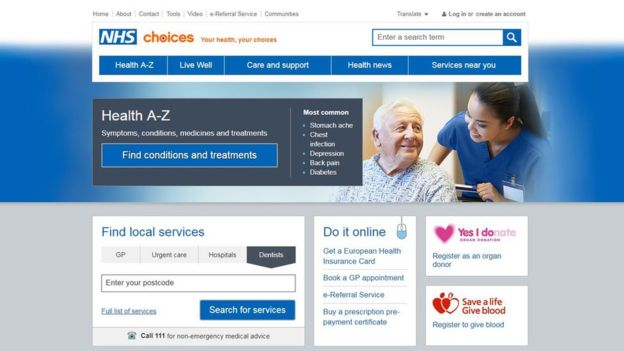 The NHS Choices website