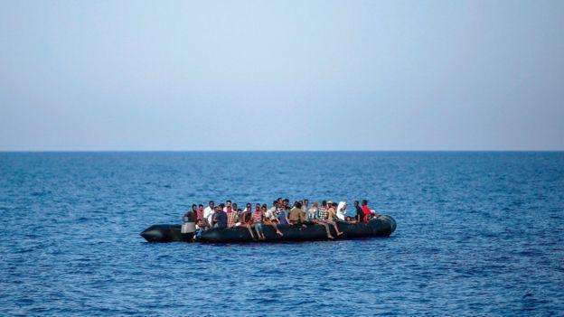 Migrantes en una balsa