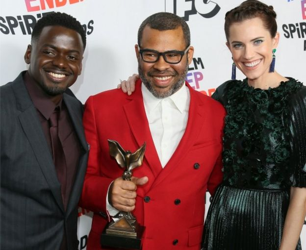 Daniel Kaluuya, Jordan Peele and Allison Williams with the Best Feature Award for Get Out