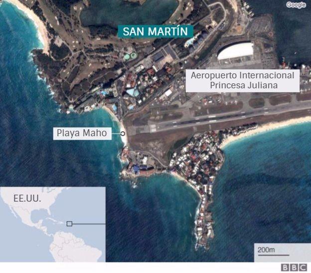 Mapa de San Martín con la playa y el aeropuerto.