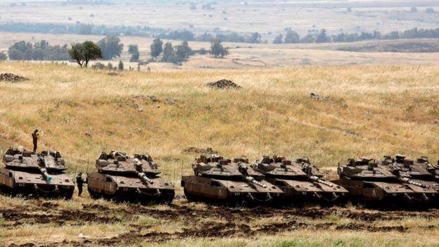 Израильские танки на границе с Сирией