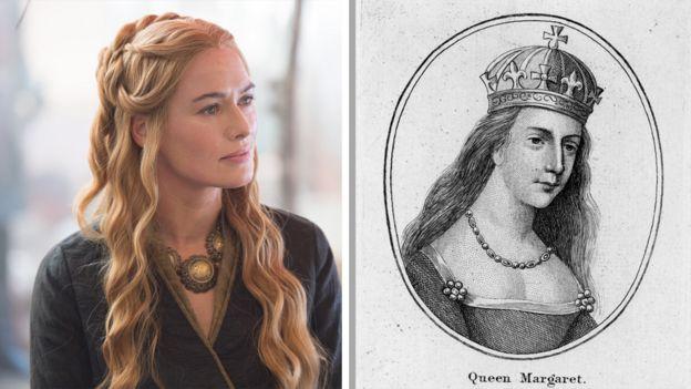 Cersei (izquierda) y la Reina Margarita de Anjou (derecha).