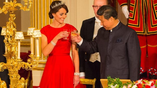 The Duchess of Cambridge and Chinese President Xi Jinping at a state banquet
