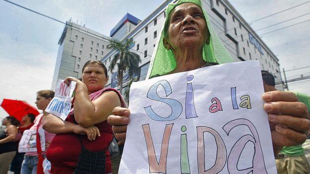 Protesta contra la minería en El Salvador.